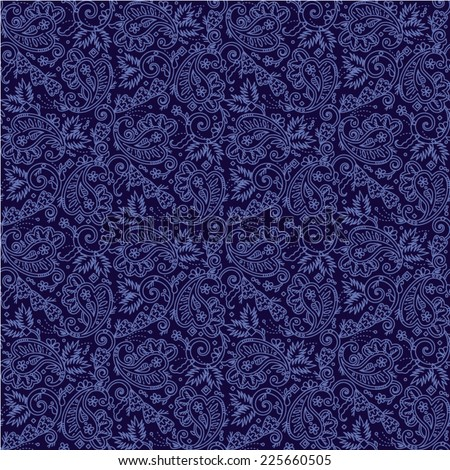 Seamless (you see 4 tiles) paisley pattern background (swatch, wallpaper, print, texture) of dark blue night colors  - stock vector
