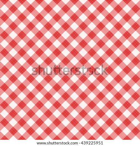 Seamless (you see 4 tiles) red diagonal gingham fabric cloth, pattern, swatch, background, texture or wallpaper.   - stock vector