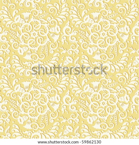 Seamless (you see 4 tiles) vector decorative pattern or background - vintage style floral scrolls and swirls ( for high res JPEG or TIFF see image 59862133 )  - stock vector