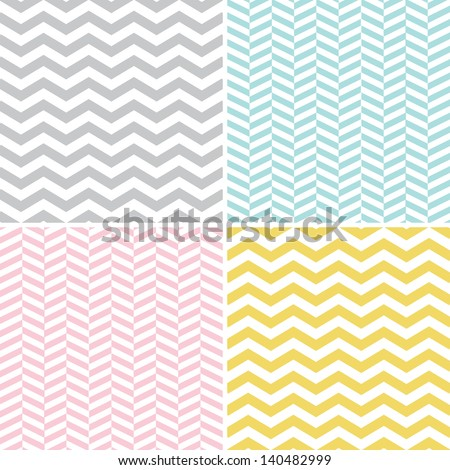 Seamless Zigzag (Chevron) Patterns - stock vector