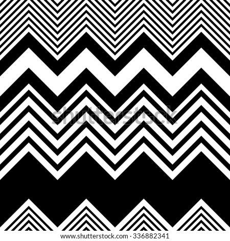 Seamless Zigzag Pattern. Abstract  Black and White Background. Vector Regular Zig Zag Texture. - stock vector
