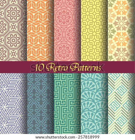 seamlessly retro patterns, pattern swatches included, editable vector file, retro color style. - stock vector