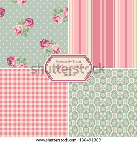 "seamlessly tiling ""shabby chic"" patterns (saved to the colors/pattern palette) - stock vector"