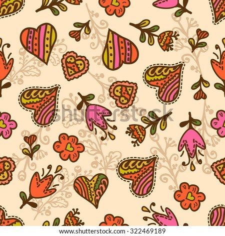 Seamlessvalentines pattern with hearts and flowers. Valentines Day design. - stock vector