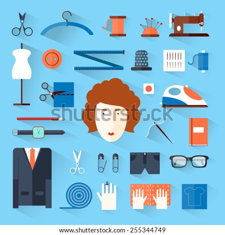 Seamstress workplace. Sewing items and tools. Tailor, fashion designer, needlework, tailoring, custom tailoring. Hand made. Creative workspace. Flat illustrations. - stock vector