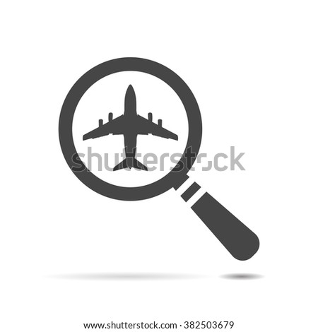 search airplane pictogram flat icon - stock vector