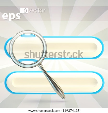 Search bar under the magnifier zooming glass, eps10 vector icon emblem - stock vector