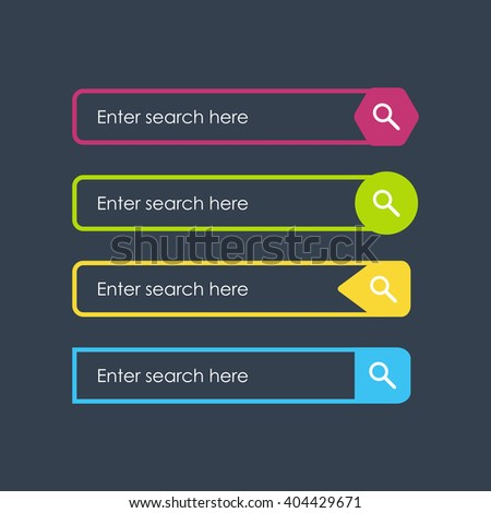 Search bars. Flat design elements. Templates box simple design for website. Vector interface forms - stock vector