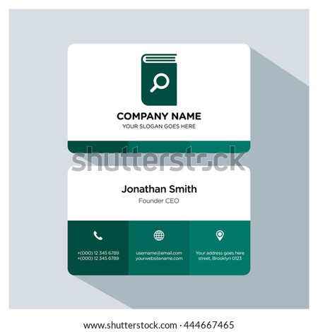 Search book icon. Business card template, Logo branding, Business card vector EPS, Image jpg - stock vector