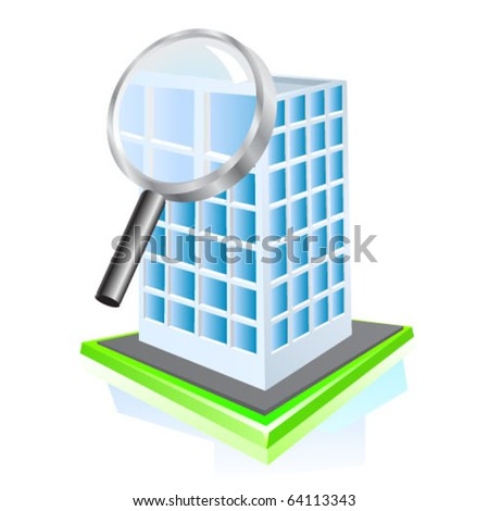 Search building icon. Vector - stock vector