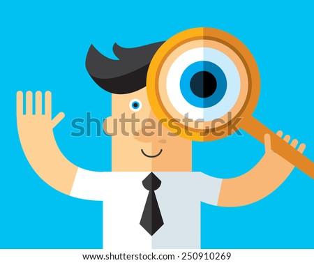 Search. Businessman looking through a magnifying glass. Business flat vector illustration. - stock vector