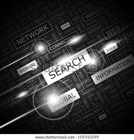 SEARCH. Concept vector illustration. Word cloud with related tags and terms. Graphic tag collection. Wordcloud collage.  - stock vector