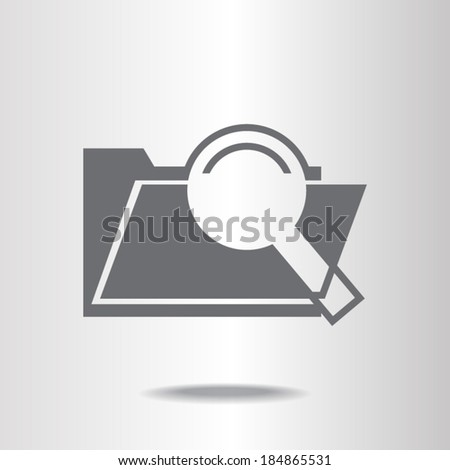 Search concept with folder icon and magnifying glass icon, vector illustration. Flat design style - stock vector