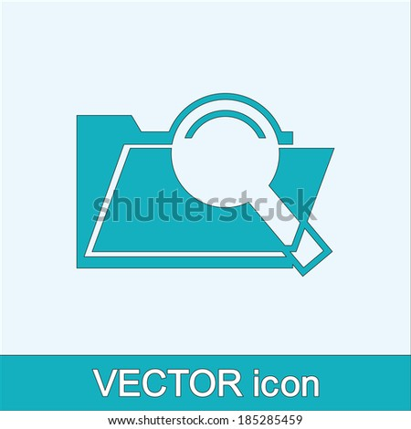 Search concept with folder icon and magnifying glassicon, vector illustration. Flat design style - stock vector
