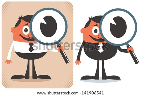 Search: Conceptual illustration for searching. No transparency and gradients used. - stock vector