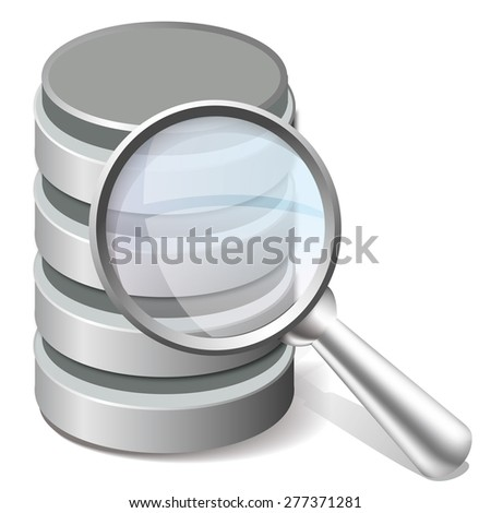 Search database icon, magnifier and database objects - stock vector