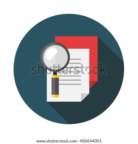 Search document flat icon with long shadow. Vector illustration. - stock vector