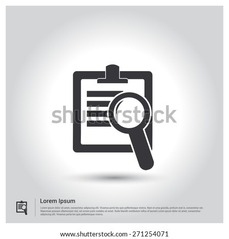 Search Documents Icon, pictogram icon on gray background. Vector illustration for web site, mobile application. Simple flat metro design style. Outline Icon. Flat design style - stock vector