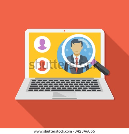 Search employee concept. Looking for professional staff. Flat design concepts for web banners, web sites, infographics. Flat vector illustration with trendy long shadow. Isolated on red background - stock vector