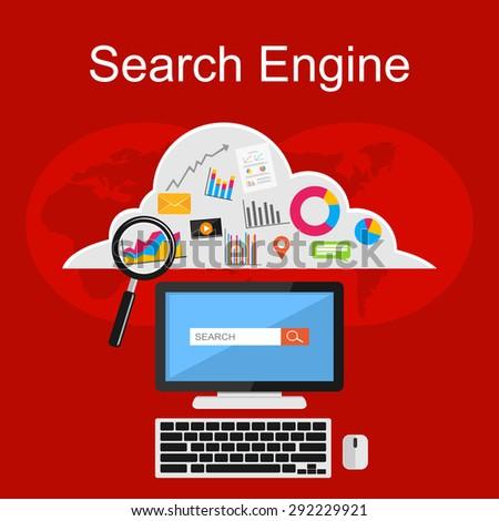 Search engine illustration. Flat design illustration concepts for internet contents, media digital, internet cloud storage, internet searching. - stock vector