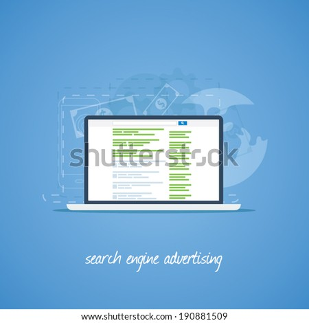 Search engine marketing and advertising vector concept - stock vector