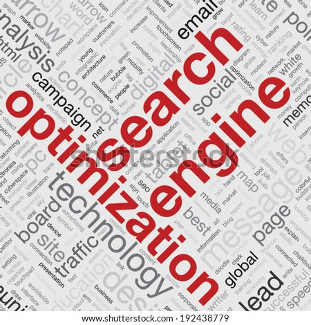 Search engine optimization concept in word tag cloud vector illustration - stock vector