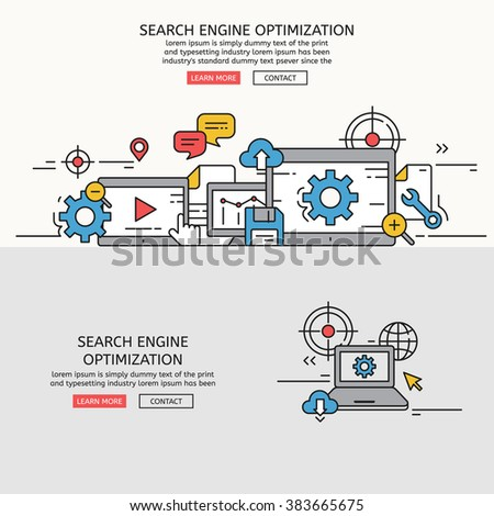 Search engine optimization for website banner and landing page , eps10 vector format - stock vector