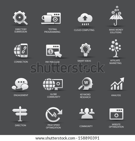 Search Engine Optimization icons, On gray background version 2,vector - stock vector