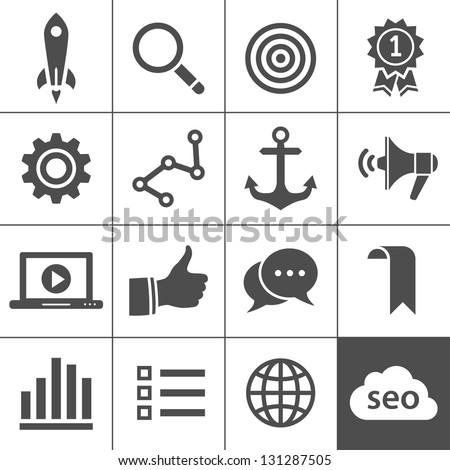 Search engine optimization, internet marketing icons. Vector illustration. Simplus series - stock vector