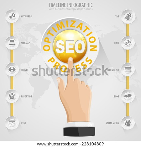 Search Engine Optimization (SEO) Concept with Buttons, Icons and Hand. Vector Template. - stock vector