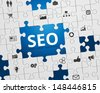 Search Engine Optimization - SEO - Jigsaw Puzzle and Icons - stock vector