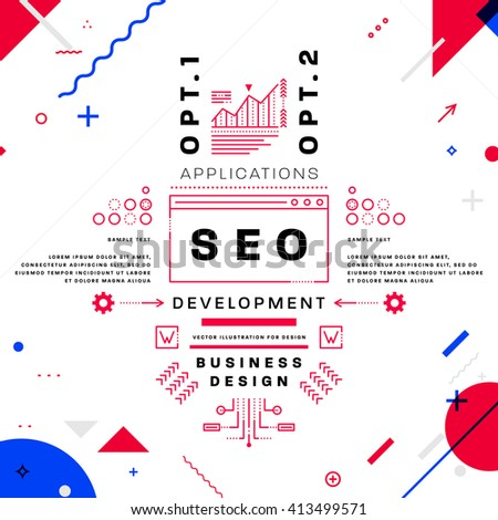 Search Engine Optimization, SEO Typographic Label Concept. Thin Line Flat Style for Business Logo, Posters, Placards, Presentations and Websites Design - stock vector