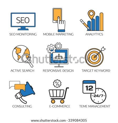 Search engine optimization technology outline icons set,  user web search experience.  SEO monitoring, mobile marketing, analytics, active search, responsive design, target keyword, consulting - stock vector
