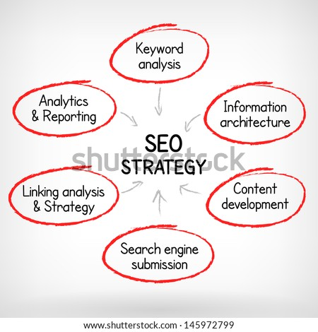 Search engine optimization vector strategy plan process hand write vector illustration