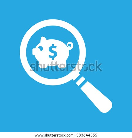 search flat icon of white piggy bank on a blue background - stock vector