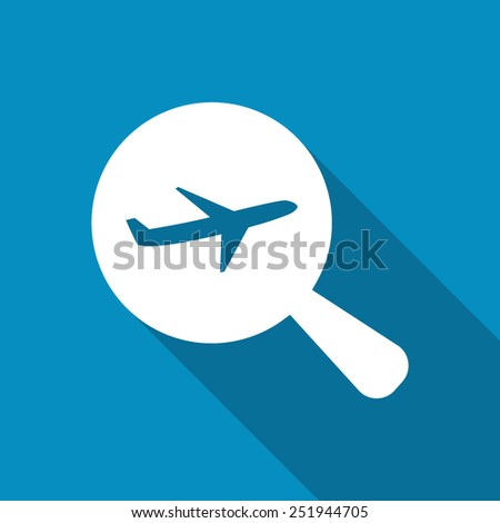 Search Flight Or Looking For An Aviation. Flat icon design with long shadow - stock vector