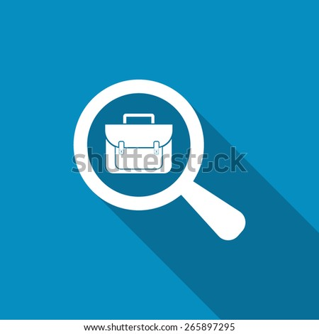 Search for job symbol with magnifying glass and briefcase. Flat design - stock vector