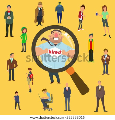 search for the best candidate for the job. vector illustration. - stock vector