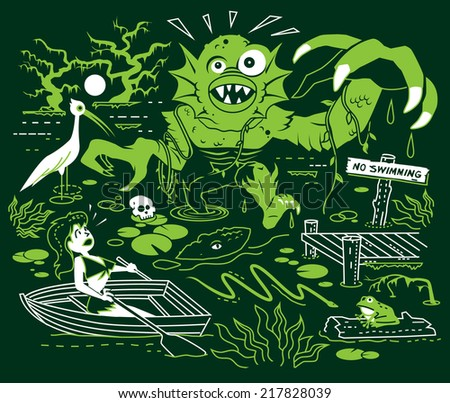 Search for the Swamp Monster - stock vector