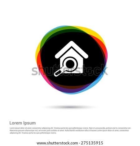 Search Home For Rent Icon, White pictogram icon creative circle Multicolor background. Vector illustration. Flat icon design style - stock vector