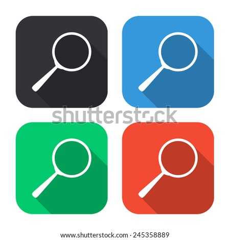 search icon - colored illustration (gray, blue, green, red) with long shadow - stock vector