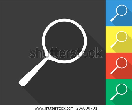 search icon - gray and colored (blue, yellow, red, green) vector illustration with long shadow - stock vector