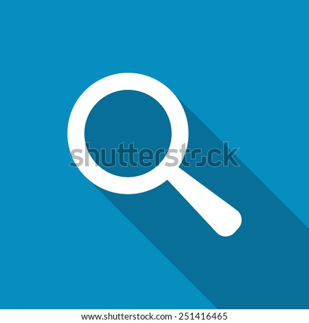 Search icon, Magnify button vector illustration. Modern design flat style icon with long shadow effect - stock vector