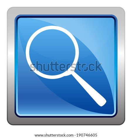 search icon - squared vector button isolated on blue - stock vector