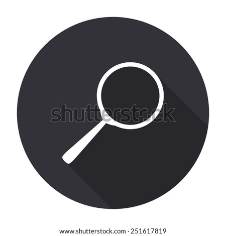 search icon with long shadow - vector round button - stock vector