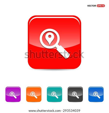 search location icon - abstract logo type icon - red, orange, turquoise, black and blue 3d button background. Vector illustration - stock vector