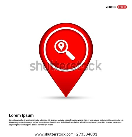 search location icon - abstract logo type icon - white icon in map pin point red background. Vector illustration - stock vector
