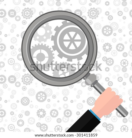 search mechanism with a magnifying glass - stock vector