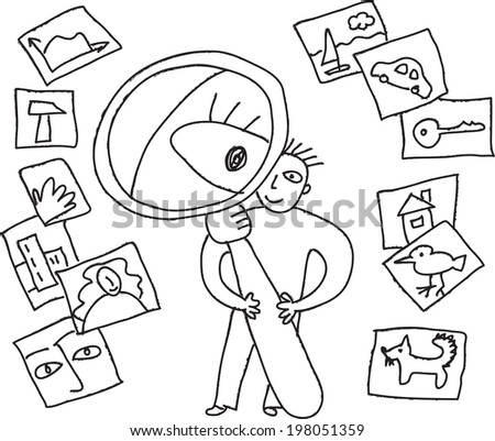 Search objects pictures Unrecognizable man searching somethings. Black and white isolated vector doodles illustration. - stock vector