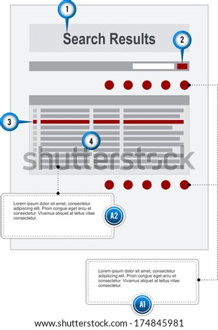 Search Results Internet Web Page Wireframe Structure Prototype Form with pointer markers and callouts, vector - stock vector